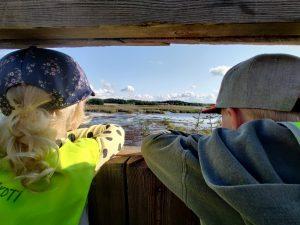Lapset katsovat lintutornista merimaisemaa.