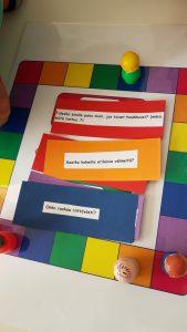 Kuvassa pelataan lautapeliä, jossa on kysymyksiä päiväkodin arjesta.