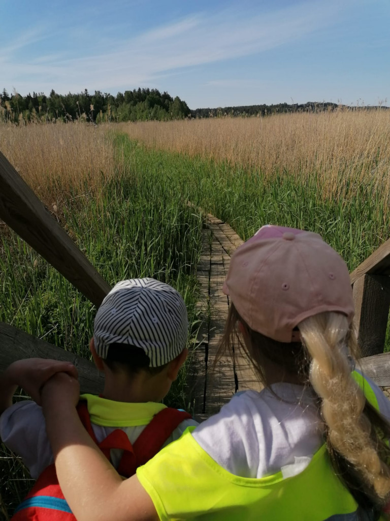 Kuvassa lapset retkellä lintutornilla.