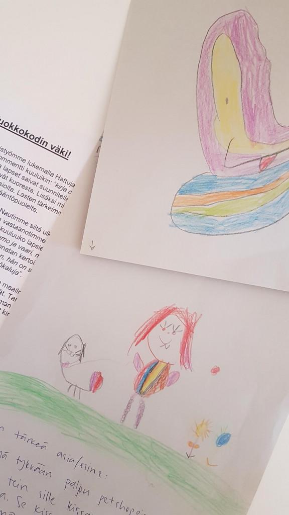 Kuvassa lapsen askartelu, jossa on oma unelmien hattu ja itselle tärkeä esine tai asia.