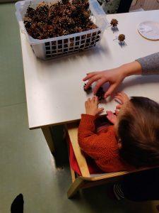 lapsi istuu pöydän vieressä ja koskee käpyihin.