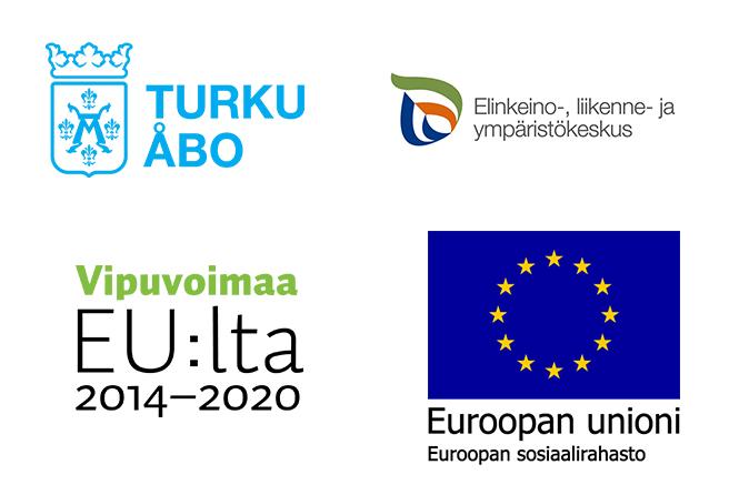 Turun kaupunki -logo, ELY-keskus -logo, Vipuvoimaa EU:lta 2014-2020 -logo, Euroopan sosiaalirahasto -logo.