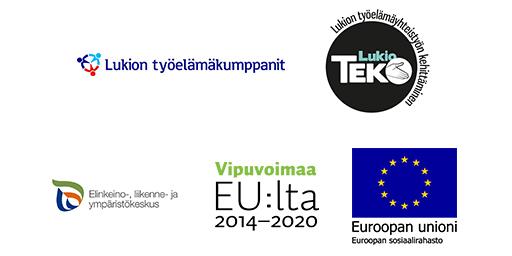 Logot. Lukion työelämäkumppanit, LukioTEKO, ELY-keskus, Vipuvoimaa EU:lta, Euroopan unioni ESR
