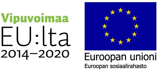 Vipuvoimaa EU:lta 2014-2020 logo ja Euroopan sosiaalirahaston logo. Etusivulle.