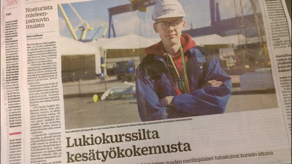 Turun Sanomien juttu merilukiolaisista kesätöissä alan yrityksissä.