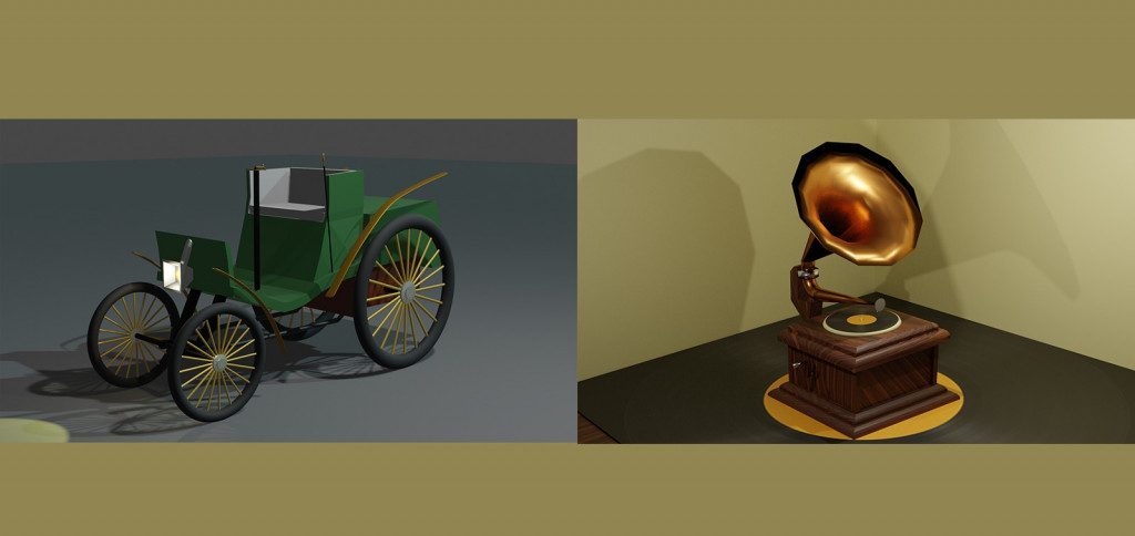3D-tekniikalla tehty vanha auto ja gramofoni