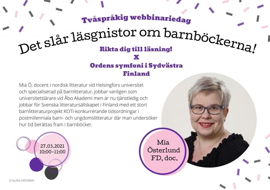 PUHUJAESITTELY #1 – Mia Österlund (27.3. 10–11)