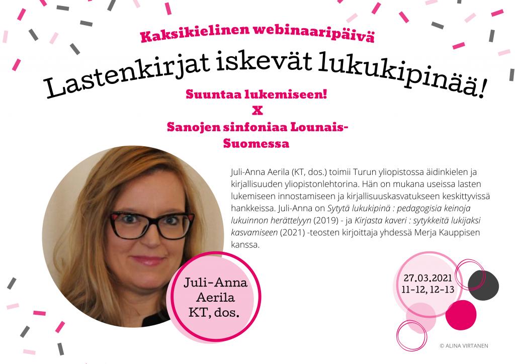 PUHUJAESITTELY #2 – Juli-Anna Aerila (27.03. 11–13)