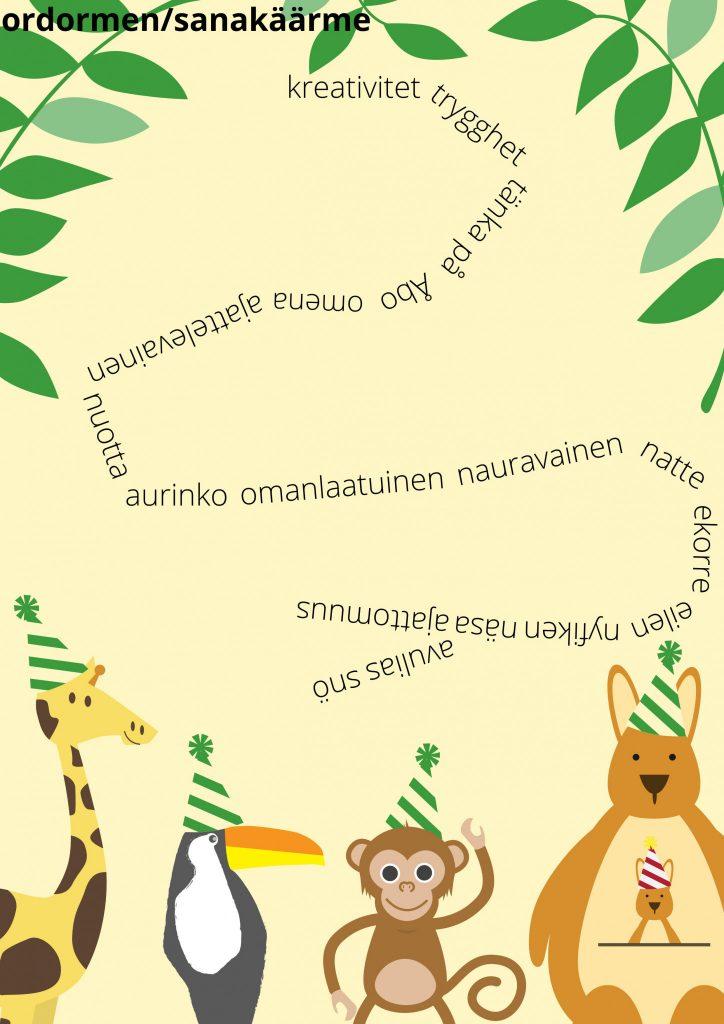 Ordormen/sanakäärme. Ruotsin- ja suomenkielisiä sanoja on asetettu peräkkäin siten, että ne muodostavat kiemurtelevan käärmeen. Sanakäärme koostuu sanoista: kreativitet, trygghet, tänka på, Åbo, omena, ajattelevainen, nuotta, aurinko, omanlaatuinen, nauravainen, natte, ekorre, eilen, nyfiken, näsa, ajattomuus, avulias ja snö. Viidakkomaista tunnelmaa luovat kuvan yläreunassa muutama animoitu lehtipuun oksa ja alareunassa iloisen näköiset animoidut eläimet - kirahvi, tukaani, apina ja kenguru.
