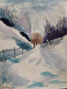 Kävely talvisessa maisemassa