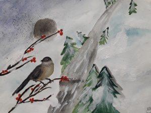 Lintuja talvisessa luonnossa
