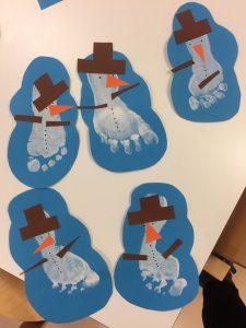 Jalkapohjista tehdyt lumiukot.