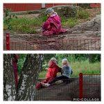 Kuvakollaasissa kaksi kuvaa. Ylemmäisessä yhden lapsen selkä kun hän ottaa vettä lammikosta. Alemmassa kahden lapsen selät kun he istuvat ja ottavat vettä lammikosta.