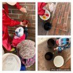 Kuvakollaasi jossa kolmessa kuvassa lapset ottavat vettä ulkoseinässä olevasta vesihanasta.