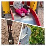 Kuvakollaasi josssa kolme kuvaa. Ylimmässä kuvassa lapsi laskee liukumäkeä. Vasemmassa alhaalla lapsi seisoo jalkapallon takana. Oikealla alhaalla lapsi tutkii pensasta.