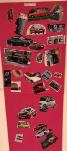 lehdestä leikattiin moottoripyörän, autojen ja lentokoneiden kuvia.