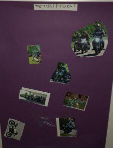 lehdestä leikattiin moottoripyörän kuvia