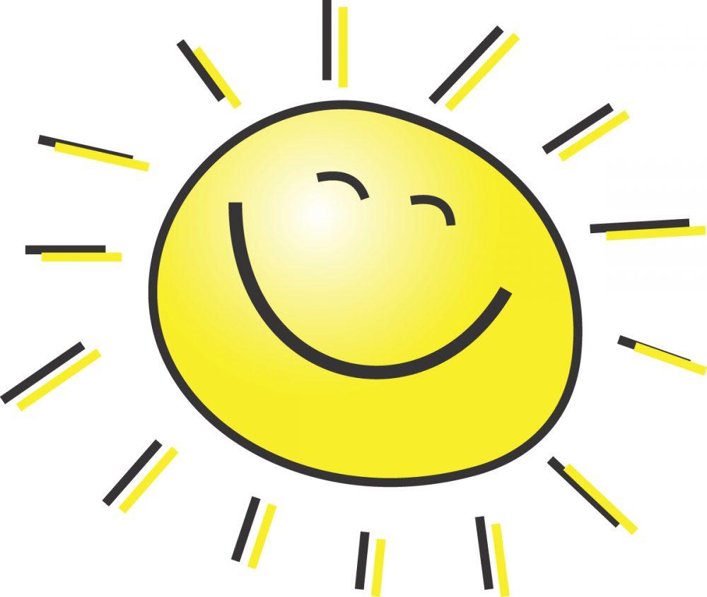 Aurinko hymyilee.