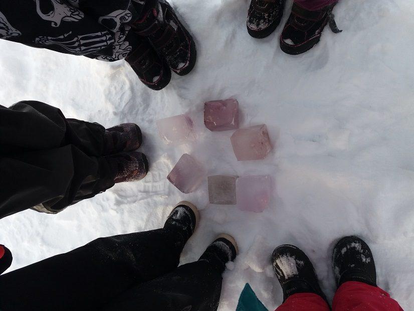 Eskareiden vedestä  jäädyttämiä jääkuutioita.