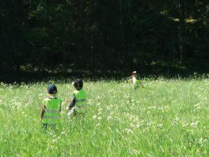 Lapsia kukkaniityllä.