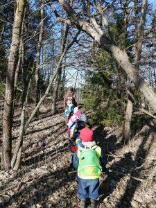 Lapset jonossa suuntaamassa kohti metsää