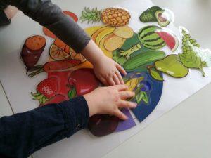 Hedelmien ja vihannesten kuvia väriympyrässä