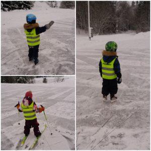 Lapset hiihtävät ja luistelevat