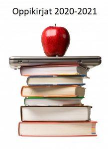 Kuva on linkki Puolalanmäen lukion lukuvuoden 2020-2021 oppikirjalistaan. Kuvassa on kirjapino, jonka päällä on tietokone ja omena.