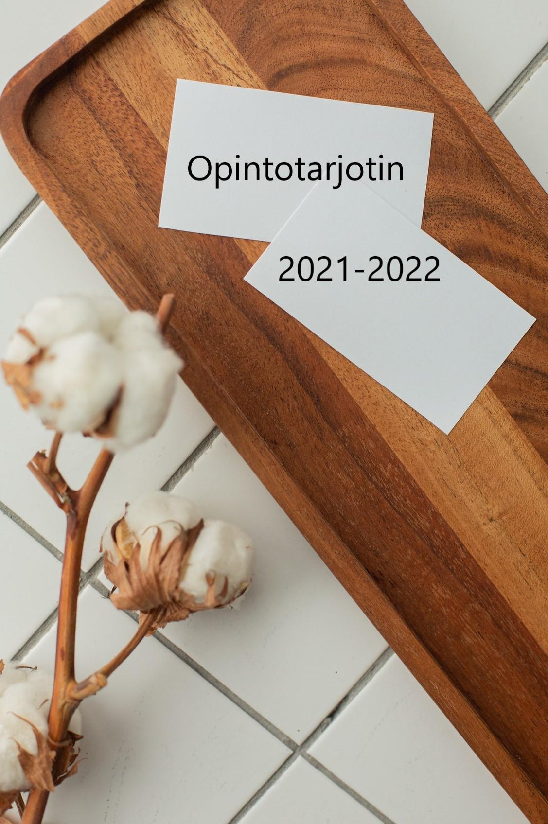 Kuva on linkki Puolalanmäen lukion lukuvuoden 2020-2021 kurssitarjottimeen. Kuvituskuva, missä puinen tarjotin.