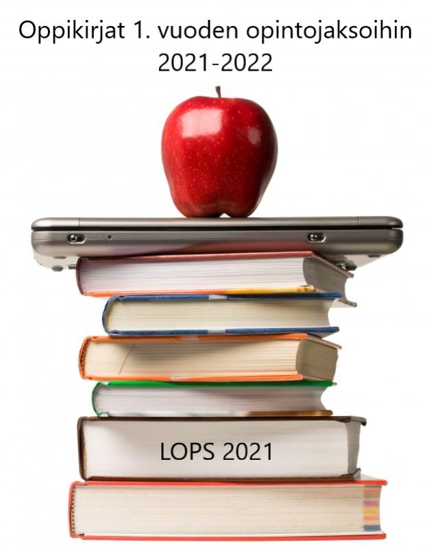 Kuva on linkki Puolalanmäen lukion lukuvuoden 2021-2022 LOPS 2021 oppikirjalistaan. Kuvassa on kirjapino, jonka päällä on tietokone ja omena.