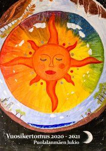 Kuva on linkki Puolalanmäen lukion vuosikertomukseen 2020-2021. Kuvassa on vuosikertomuksen kansi, joka esittää opiskelijan tekemää maalausta aiheenaan aurinko.
