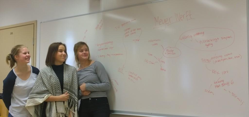 Elevskribenterna gör upp en tankekarta över besöket på varvet