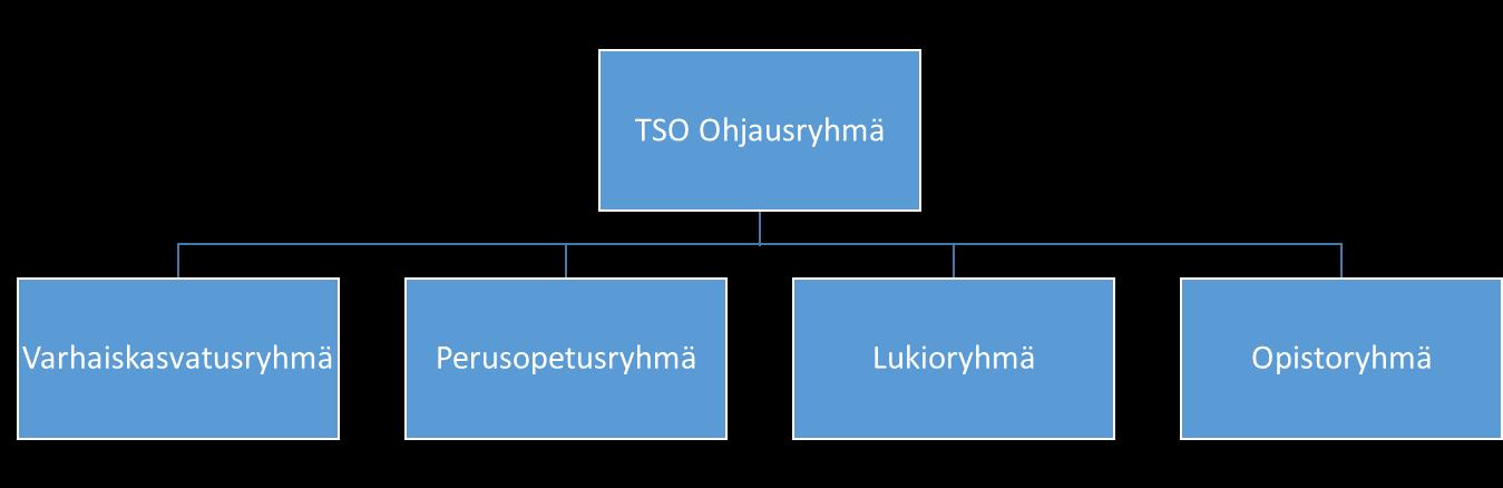 TSO:n organisaatiokaavio: ohjausryhmän alla ovat varhaiskasvatus-, perusopetus-, lukio- ja opistoryhmä.