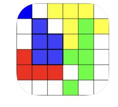 ruudukolla värillisiä neliöitä.