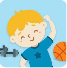 Poika jumppaa käsi ylhäällä taivuttaen vartaloaan.