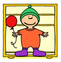 Kuvassa Popetto pelin hahmo. Lapsi jolla kirjavat vaatteet ja ilmapallo kädessä.