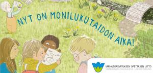 piirretty kuva missä neljä lasta tutkii luontoa metsässä.