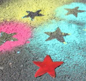 Afalttiin maalattuja tähtiä.