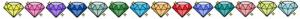 Värillisiä piirrettyjä timantteja.